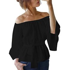 PeiZe Womens Casual Loose Off Shoulder Tops