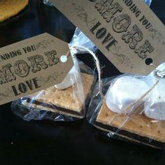 """Sending you s'more love"" wedding favor idea, LOVE! (from a MI hillbilly wedding)"