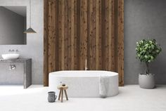 Close up of a white marble bath tub standing in a concrete and wooden bathroom with a sink and a mirror in it. rendering mock up , Industrial Toilets, Modern Industrial, Shower Doors, Shower Tub, Bath Tub, Ikea Art, Mini Bad, Bath Paint, Marble Bath