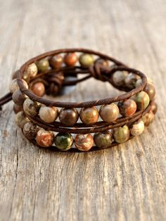 Natural earth tone beaded bracelet Rustic double by SinonaDesign, $48.00