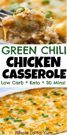 A low carb and keto green chili chicken casserole recipe that's so easy and healthy too! This keto casserole takes is so quick and only takes 30 minutes. You'll love the chili verde casserole flavor! #keto #ketorecipes #chicken #lowcarb #glutenfree #easymeals #easyrecipes #quickrecipes