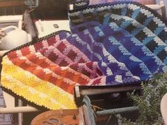 rainbow granny square crochet blanket in Afghan Traditions #crochet book