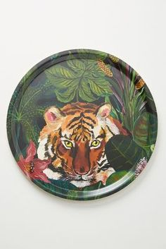Nathalie Lete Animalia Decorative Tray by in Green, Decor at Anthropologie Cardboard Painting, Thrift Store Crafts, Second Hand Stores, Decorating Coffee Tables, Room Wall Decor, Animal Fashion, French Art, Thrifting, Anthropologie