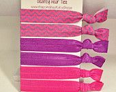 Pink & Purple Chevron elastic hair ties! Perfect for yoga and workouts!