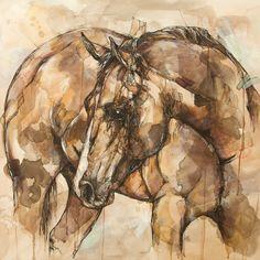 Horse Art Print 12 x 12 Reproduction Of by JonShawPaintings, $35.00