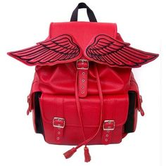 Harajuku Pastel Red Wing Backpack from Super Animals Temples ($22) ❤ liked on Polyvore featuring bags, backpacks, animal backpack, knapsack bags, red bag, backpacks bags and red wing bags