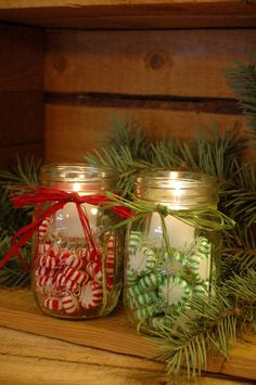 Candy filled jar Candles for your Winter by PineknobsAndCrickets...