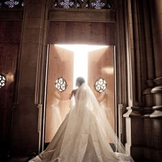 A gorgeous, romantic shot from Photography by Walters & Walters of a bride at Duke Chapel in Durham, NC