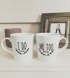"""A lovely gift for a pair of newlyweds, these hand-painted mugs let them say, """"I do"""" again every morning."""