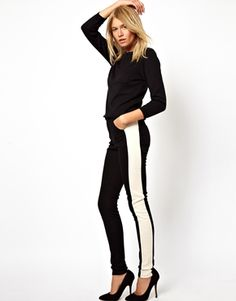 ASOS High Waisted Skinny Trousers with Side Panel