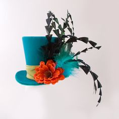 Alice in wonderlad, mad hatter hat,fascinator,bachelorette party,Burlesque hat,Gothic,Steampunk hat,Showgirl, Blue Mini Top Hat - Etsy $38