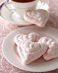 Raspberry Meringue Hearts!   Bonus - Not only are they low cal, but they are fat free as well.