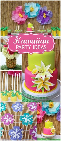 How gorgeous is this Hawaiian luau party. Loving the dessert table with beautiful luau birthday cake, hibiscus flower cookies, and bamboo backdrop with paper flowers. See more party ideas at CatchMyParty.com!