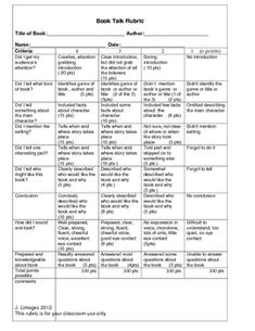 This rubric is used with a student's book talk.  I sometimes use book talks instead of a written book report.  This rubric is given to the studnet ...