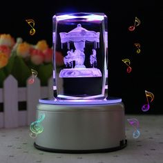 LIWUYOU Christmas Gifts Personalized Custom Text Rectangle Colorful LED Light Crystal 3d Music Boxes with Remote Control, Carousel, MP3 Base ** See this great image  : home diy lighting