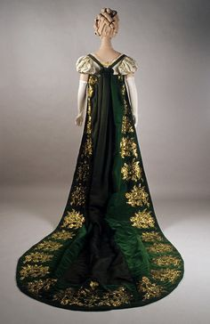1810-1820, France - Court train of green velvet and gold embroidery worn with evening dress of ivory silk moire faille and gold embroidery