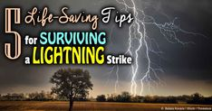 Your car is the safest place to be when lightning strikes -- if you can't, crouch low to the ground  on the balls of your feet with your heels touching. http://articles.mercola.com/sites/articles/archive/2014/05/24/lightning-strike.aspx