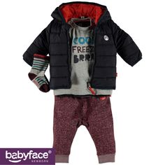 Part of the Babyface Newborn boys WINTER 2015 collection. In stores from September 2015. T-shirt, Jacket, Pants and Socks.
