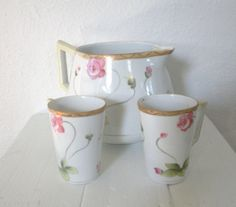 Vintage Nippon China Pitcher Mugs Japan Hand by GallivantsVintage,
