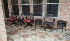 "Gensun Grand Terrace swivel chairs and 20"" Chateau side tables with ice buckets from Hanamint Yard of the Month - July - Yard Art Patio & Fireplace"