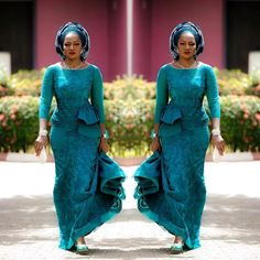 > are some Aso-Ebi fashion styles you would love!Nigerian weddings are never boring. The wedding red carpet is always full of glitz, glamour, and amazing moments when it comes to wedding guests'… African Lace Styles, African Lace Dresses, African Fashion Dresses, African Clothes, African Style, Nigerian Fashion, Ankara Fashion, African Design, African Beauty