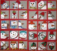 Kinderen tekenen het gezicht (of een deel hiervan) van een sneeuwpop vanuit verschillende gezichtspunten: van bovenaf, frontaal, van onderaf, en profiel, ondersteboven enz. De tekeningen worden ingekleurd met oliepastels. Natuurlijk komen de kleuren in alle tekeningen terug, het is immers steeds dezelfde sneeuwman! Omlijn de onderdelen met zwart oliepastel. Maak een mooie compositie van de tekeningen en plak ze op gekleurd karton.