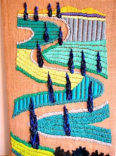 OOAK Tapestry Handmade Embroidery Fiber art Wall Tapestry