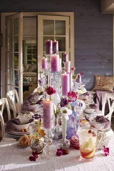 purple party... Candles and Flowers