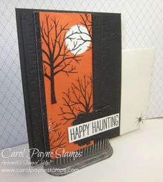 Stampin' Up!, DIY Crafts, Sheltering Tree, Cheer All Year, Masking Technique, Brayering, Woodland Textured Impressions Folder. It's the September Stamper's Dozen Blog Hop on my blog today! Link to take the hop: http://www.carolpaynestamps.com/2015/09/stampers-dozen-blog-hop-september-edition-halloween.html
