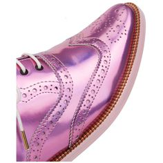 Irregular Choice Nougat Holographic Oxfords - Pale Pink (210 NZD) ❤ liked on Polyvore featuring shoes, oxfords, oxford lace up shoes, lace up oxfords, oxford shoes, brogue shoes and brogue oxford