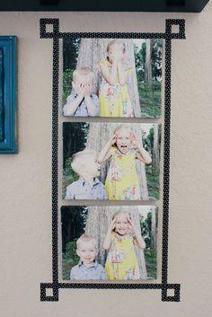 Use fita washi para incluir um quadro artificial divertido e fácil. | 27 ideias únicas para exibir fotos que trazem suas memórias para a vida