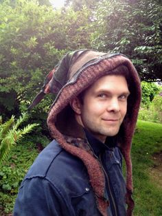 Upcycled Recycled  Wool Hood Hat Men Women by danamurphydesigns, $39.00