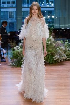 monique lhuillier fall 2017 (stardust) sleeveless thin straps v neck trumpet wedding dress feather cape mv -- 2017 Wedding Dress Trends Wedding Dress Trends, Fall Wedding Dresses, Bridal Dresses, Wedding Gowns, Wedding Shoes, Most Beautiful Dresses, Pretty Dresses, Wedding Dress With Feathers, Monique Lhuillier Bridal