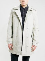 STONE FULL LENGTH DOUBLE BREASTED TRENCH COAT