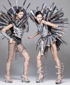 Extreme Fashion sculptural, epic body armour connected with lots of bolts and screws