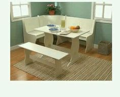 Breakfast Nook White Table Bench 4 Piece Corner 5 Seatings Dining Kitchen Set