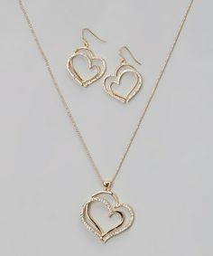 Another great find on #zulily! Gold Sparkle Double-Heart Pendant Necklace & Drop Earrings #zulilyfinds
