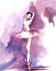 Ballerina in purple art print Watercolor Print by CanotStopPrints