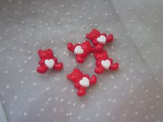 5 Teddy Bears Holding Heart Buttons Red and White.  Only 2 lots left.    Sweet for Valentine's Crafts!  Save 20% today with coupon code BEMYVALENTINE in MendozamVintage shop on Etsy.  Coupon expires 2-15-15