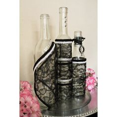 SET(3)- Decorated Wine Bottle Centerpiece Black Lace, White & Silver. Wine Bottle Decor. Wedding Table Centerpieces. Centerpiece Ideas