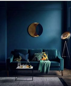 'The Interior Design Trends in - With Rockett St George & Busola Evans — HORNSBY STYLE How fabulous does this teal sofa look against the bold dark blue walls. Richmond 3 seater sofa (in velvet teal) from £.