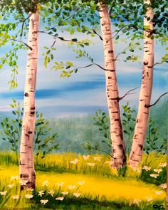 """Summer Birch"" Wine and Canvas class in Seattle with Danielle paintings diy canvases, fall canvas art diy, canvas layout ideas Tree Of Life Painting, Abstract Tree Painting, Night Sky Painting, Summer Painting, Wine And Canvas, Beginner Painting, Tree Art, Beautiful Paintings, Landscape Paintings"