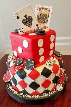 Casino theme birthday cake - adrienne & co. Fète Casino, Casino Cakes, Casino Royale, Casino Party Decorations, Casino Theme Parties, Party Themes, Themed Parties, Party Ideas, Vegas Party