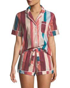 Striped Shorty Pajama Set - Pajama Sets - Ideas of Pajama Sets - Desmond & Dempsey Striped Shorty Pajama Set Cute Pajama Sets, Cute Pajamas, Comfy Pajamas, Pajamas For Teens, Pajamas Women, Satin Pyjama Set, Satin Pajamas, Pyjamas, Cute Sleepwear