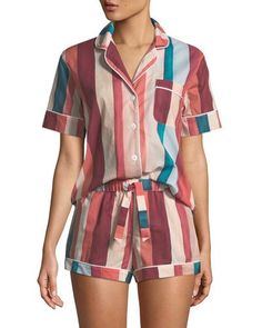 Striped Shorty Pajama Set - Pajama Sets - Ideas of Pajama Sets - Desmond & Dempsey Striped Shorty Pajama Set Cute Pajama Sets, Cute Pajamas, Satin Pyjama Set, Satin Pajamas, Women's Pajamas, Comfy Pajamas, Pajamas For Teens, Pajamas Women, Cute Sleepwear