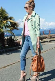 Discover this look wearing Tan Chloe Shoe Mint Heels, Aquamarine Trench Queens Wardrobe Jackets tagged fashion, missesdressy, style - Minty by CaraJ styled for Chic, Everyday in the Spring Blazer Verde, Kenzo, Green Jacket, Mint Heels, Mode Pastel, Matilda, Chloe, Karen Walker, Outfits