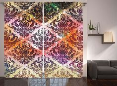 Vintage Mansion Decor by Ambesonne, Damask Victorian Antique Rustic Looking Geometric Multi Color Floral, Window Drapes 2 Panel Set for Living Room Bedroom, 108 X 84 Inches, Coral Yellow and Purple ** Continue to the product at the image link. (This is an affiliate link and I receive a commission for the sales)