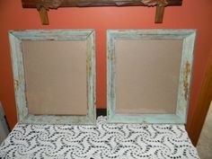 BEACH hOUSE Picture Frames.Set Of Mint Green .White washed wall decor. Shabby Shiek style. 24 Gold leafed. AGED finish .Nursery.Den.cabin