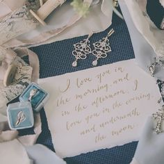 Love this photo featuring the Josephine Scroll Earrings in rose! #repost @jessicasevents  ・・・ Some of my favorite things from my renewals.  @the_mrs_box ring box @davidtuteraembellish earrings @froufrouchic silk ribbon and  #skinamarinkydinkydink  @simplycaptivating @captivatedfilms #davidtuteraembellish #davidtutera
