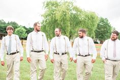 Relaxed groom and groomsmen style for a super sweet handmade barn wedding.